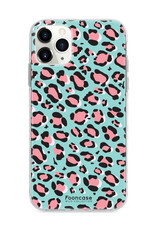 FOONCASE iPhone 11 Pro Max hoesje TPU Soft Case - Back Cover - WILD COLLECTION / Luipaard / Leopard print / Blauw