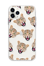 FOONCASE iPhone 11 Pro Max hoesje TPU Soft Case - Back Cover - Cheeky Leopard / Luipaard hoofden