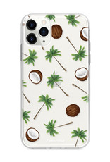 FOONCASE iPhone 11 Pro hoesje TPU Soft Case - Back Cover - Coco Paradise / Kokosnoot / Palmboom
