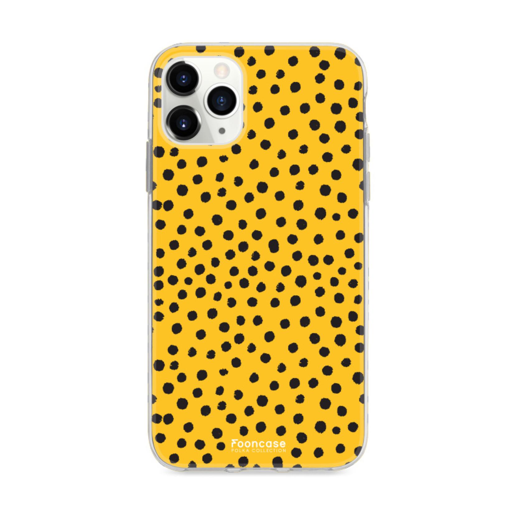 FOONCASE iPhone 11 Pro hoesje TPU Soft Case - Back Cover - POLKA COLLECTION / Stipjes / Stippen / Oker Geel