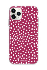 FOONCASE iPhone 11 Pro hoesje TPU Soft Case - Back Cover - POLKA COLLECTION / Stipjes / Stippen / Bordeaux Rood