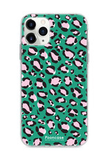 FOONCASE iPhone 11 Pro hoesje TPU Soft Case - Back Cover - WILD COLLECTION / Luipaard / Leopard print / Groen