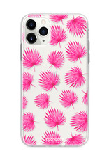 FOONCASE iPhone 11 Pro hoesje TPU Soft Case - Back Cover - Pink leaves / Roze bladeren
