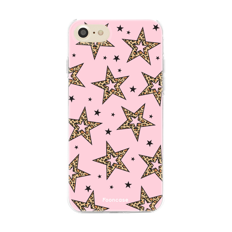 iPhone 7 hoesje TPU Soft Case - Back Cover - Rebell Leopard Sterren Roze