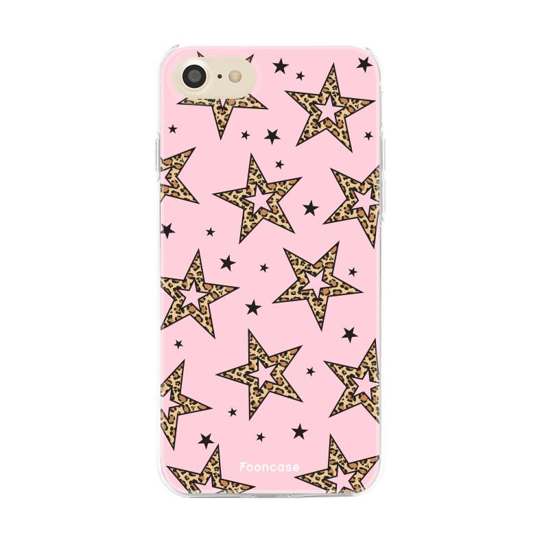 iPhone 8 hoesje TPU Soft Case - Back Cover - Rebell Leopard Sterren Roze