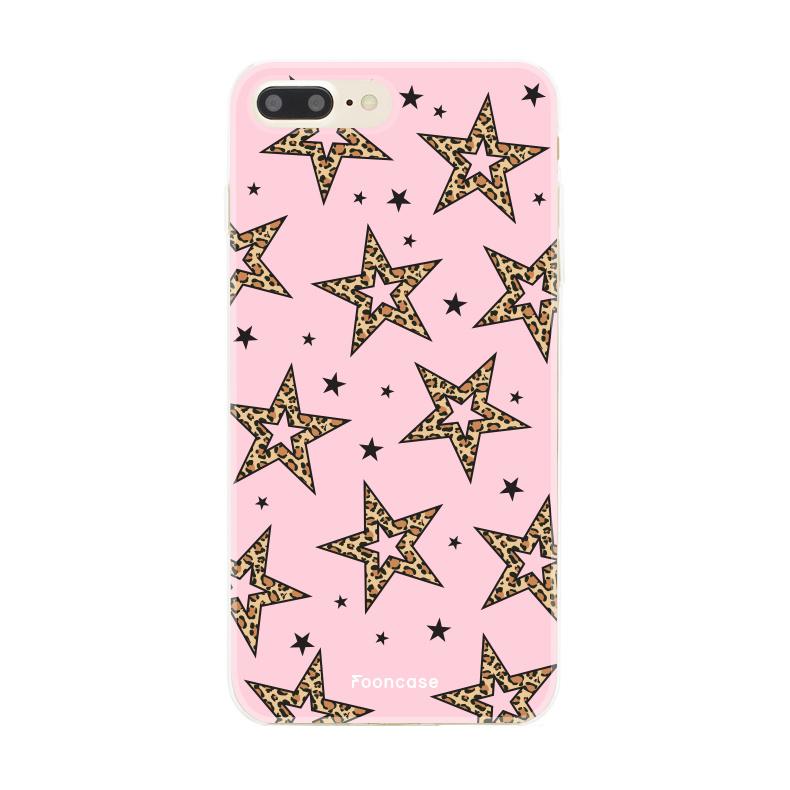 iPhone 7 Plus hoesje TPU Soft Case - Back Cover - Rebell Leopard Sterren Roze