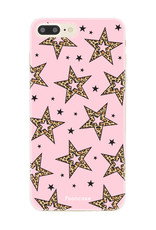 iPhone 8 Plus hoesje TPU Soft Case - Back Cover - Rebell Leopard Sterren Roze