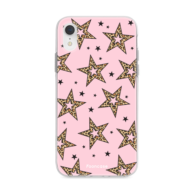 iPhone XR hoesje TPU Soft Case - Back Cover - Rebell Leopard Sterren Roze