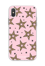 iPhone XS Max hoesje TPU Soft Case - Back Cover - Rebell Leopard Sterren Roze