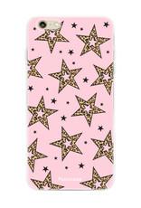 iPhone 6 / 6S hoesje TPU Soft Case - Back Cover - Rebell Leopard Sterren Roze