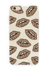 iPhone 6 / 6S hoesje TPU Soft Case - Back Cover - Rebell Leopard Lips (leopard lippen)
