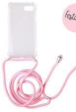 FOONCASE iPhone 7 - Festicase Roze (Telefoonhoesje TPU Soft Case - Back Cover met koord)