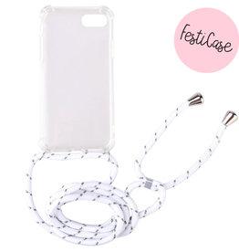 FOONCASE Iphone 8 Plus - Festicase Wit (Telefoonhoesje met koord)