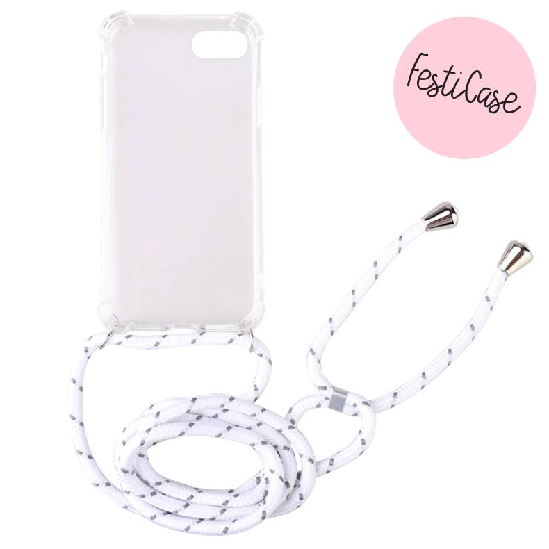 FOONCASE iPhone 7 Plus - Festicase Wit (Telefoonhoesje TPU Soft Case - Back Cover met koord)