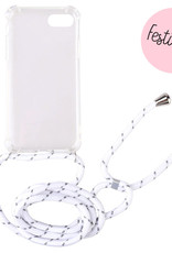 FOONCASE iPhone 8 - Festicase Wit (Telefoonhoesje TPU Soft Case - Back Cover met koord)