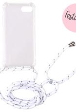 FOONCASE iPhone 7 - Festicase Wit (Telefoonhoesje TPU Soft Case - Back Cover met koord)