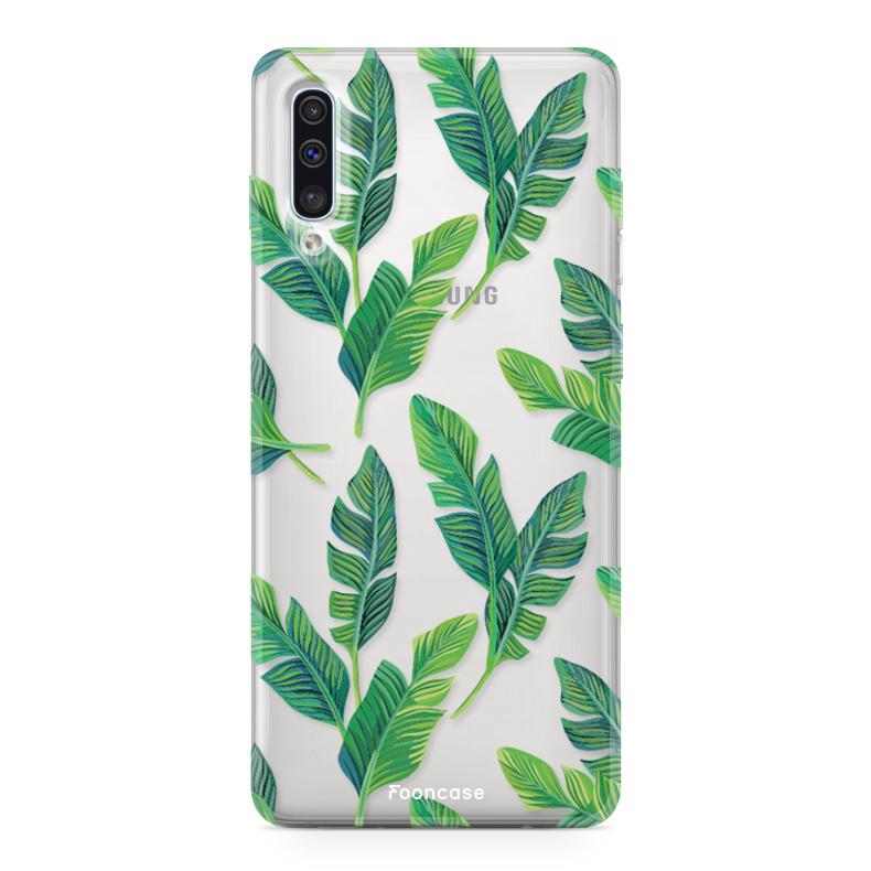Samsung Galaxy A70 hoesje TPU Soft Case - Back Cover - Banana leaves / Bananen bladeren