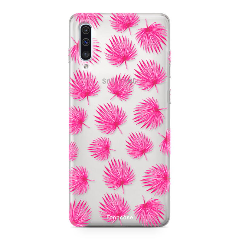 Samsung Galaxy A70 hoesje TPU Soft Case - Back Cover - Pink leaves / Roze bladeren