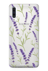 Samsung Galaxy A70 hoesje TPU Soft Case - Back Cover - Purple Flower / Paarse bloemen