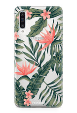 Samsung Galaxy A70 hoesje TPU Soft Case - Back Cover - Tropical Desire / Bladeren / Roze