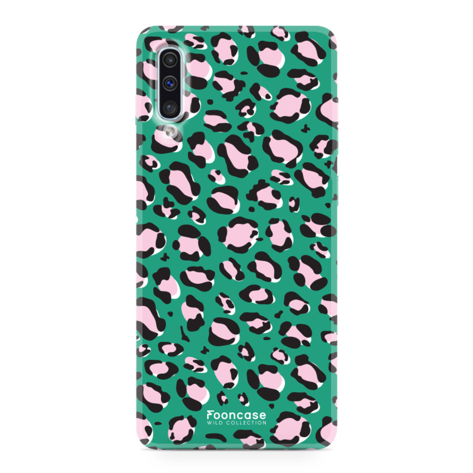 Samsung Galaxy A70 hoesje TPU Soft Case - Back Cover - WILD COLLECTION / Luipaard / Leopard print / Groen