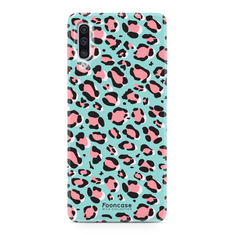 Samsung Galaxy A70 hoesje TPU Soft Case - Back Cover - WILD COLLECTION / Luipaard / Leopard print / Blauw