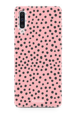 Samsung Galaxy A70 hoesje TPU Soft Case - Back Cover - POLKA COLLECTION / Stipjes / Stippen / Roze