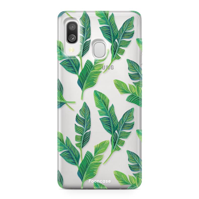 Samsung Galaxy A40 hoesje TPU Soft Case - Back Cover - Banana leaves / Bananen bladeren