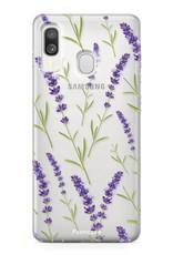 Samsung Galaxy A40 hoesje TPU Soft Case - Back Cover - Purple Flower / Paarse bloemen