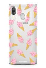 Samsung Galaxy A40 hoesje TPU Soft Case - Back Cover - Ice Ice Baby / Ijsjes / Roze ijsjes