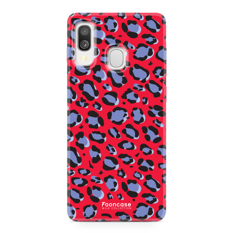 Samsung Galaxy A40 hoesje TPU Soft Case - Back Cover - WILD COLLECTION / Luipaard / Leopard print / Rood