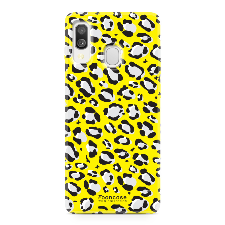 Samsung Galaxy A40 hoesje TPU Soft Case - Back Cover - WILD COLLECTION / Luipaard / Leopard print / Geel