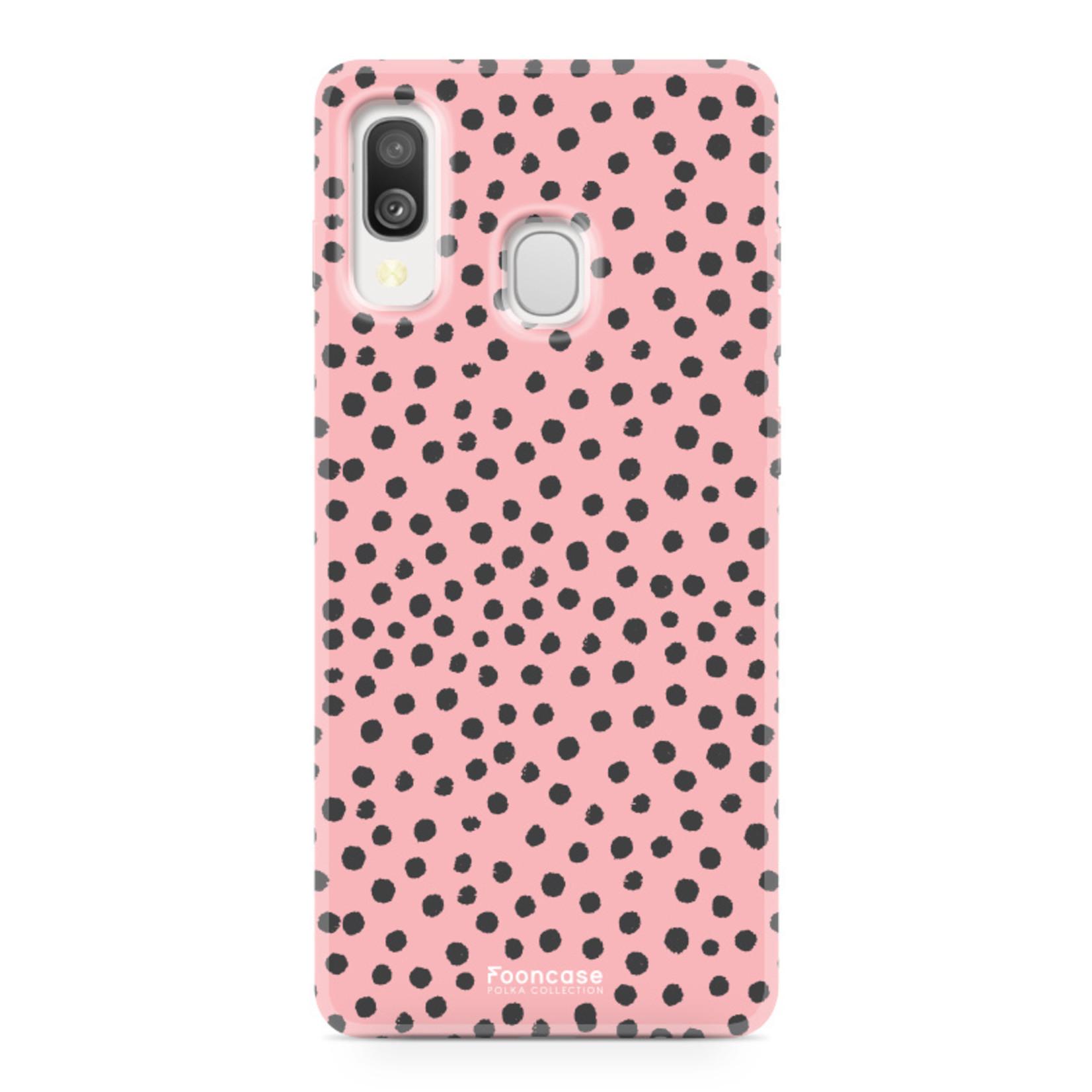 Samsung Galaxy A40 hoesje TPU Soft Case - Back Cover - POLKA COLLECTION / Stipjes / Stippen / Roze