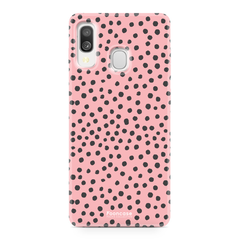 Samsung Galaxy A40 hoesje TPU Soft Case - Back Cover - POLKA COLLECTION / Stipjes / Stippen / Roze
