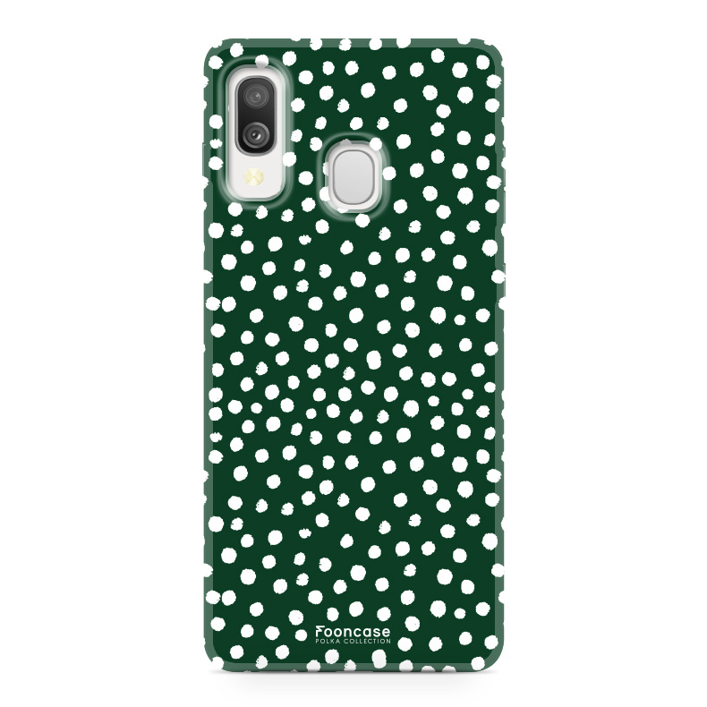 Samsung Galaxy A40 hoesje TPU Soft Case - Back Cover - POLKA COLLECTION / Stipjes / Stippen / Donker Groen
