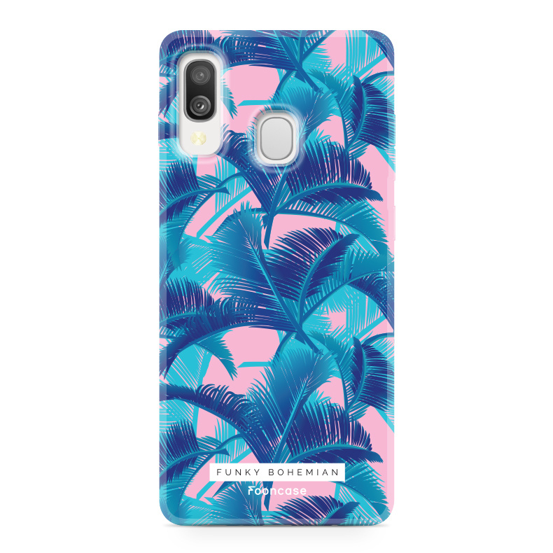 Samsung Galaxy A40 hoesje TPU Soft Case - Back Cover - Funky Bohemian / Blauw Roze Bladeren