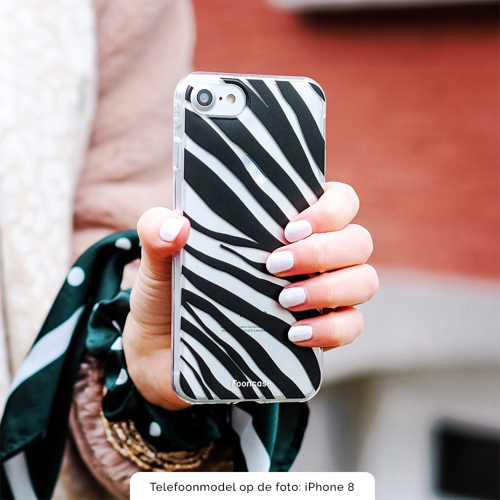 FOONCASE iPhone 8 hoesje TPU Soft Case - Back Cover - Zebra print