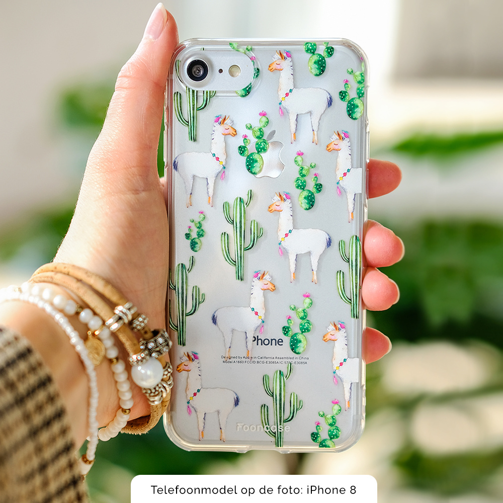 FOONCASE iPhone 8 hoesje TPU Soft Case - Back Cover - Alpaca / Lama