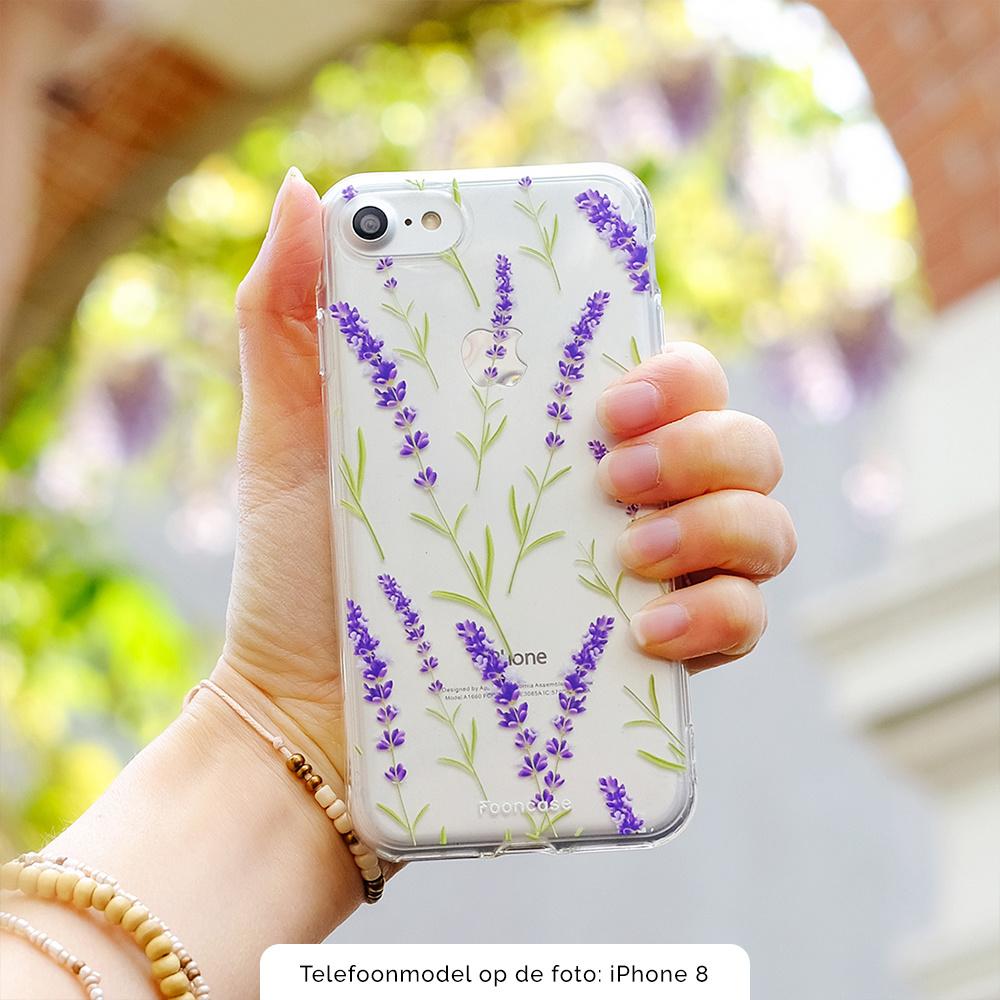 FOONCASE iPhone 6 / 6S hoesje TPU Soft Case - Back Cover  - Purple Flower / Paarse bloemen