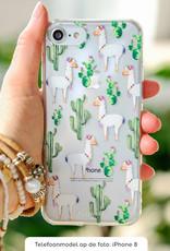 FOONCASE iPhone 8 Plus hoesje TPU Soft Case - Back Cover - Alpaca / Lama