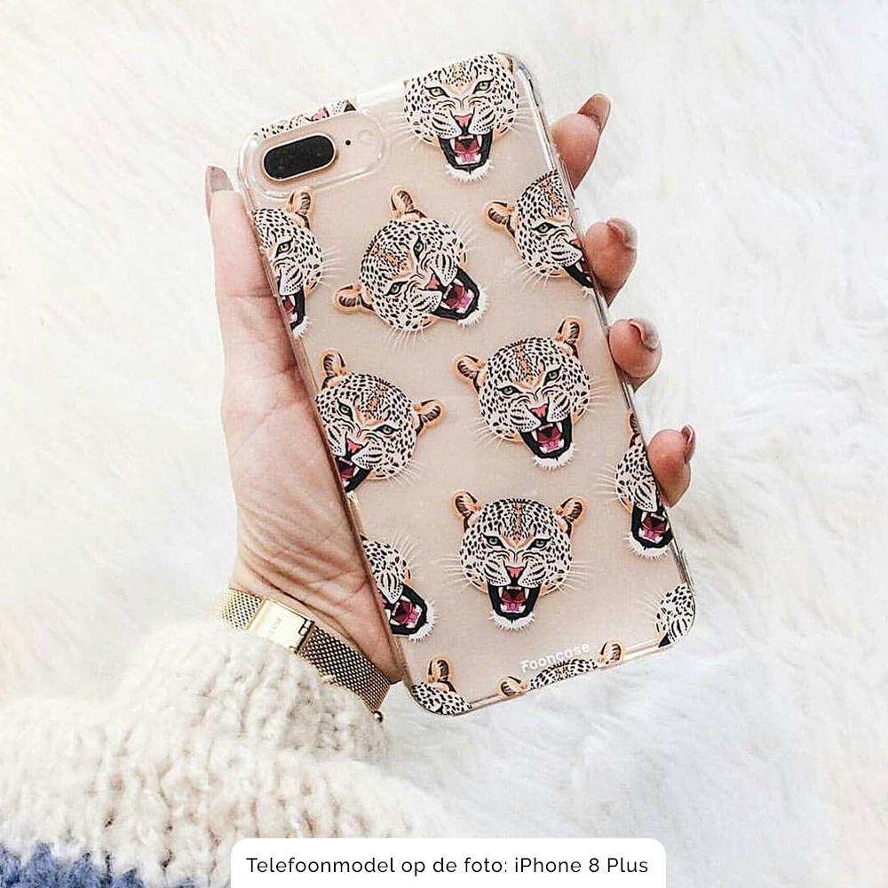 FOONCASE iPhone X hoesje TPU Soft Case - Back Cover - Cheeky Leopard / Luipaard hoofden