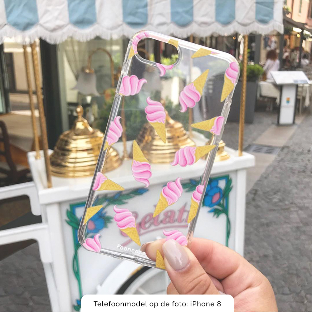 FOONCASE iPhone 8 hoesje TPU Soft Case - Back Cover - Ice Ice Baby / Ijsjes / Roze ijsjes