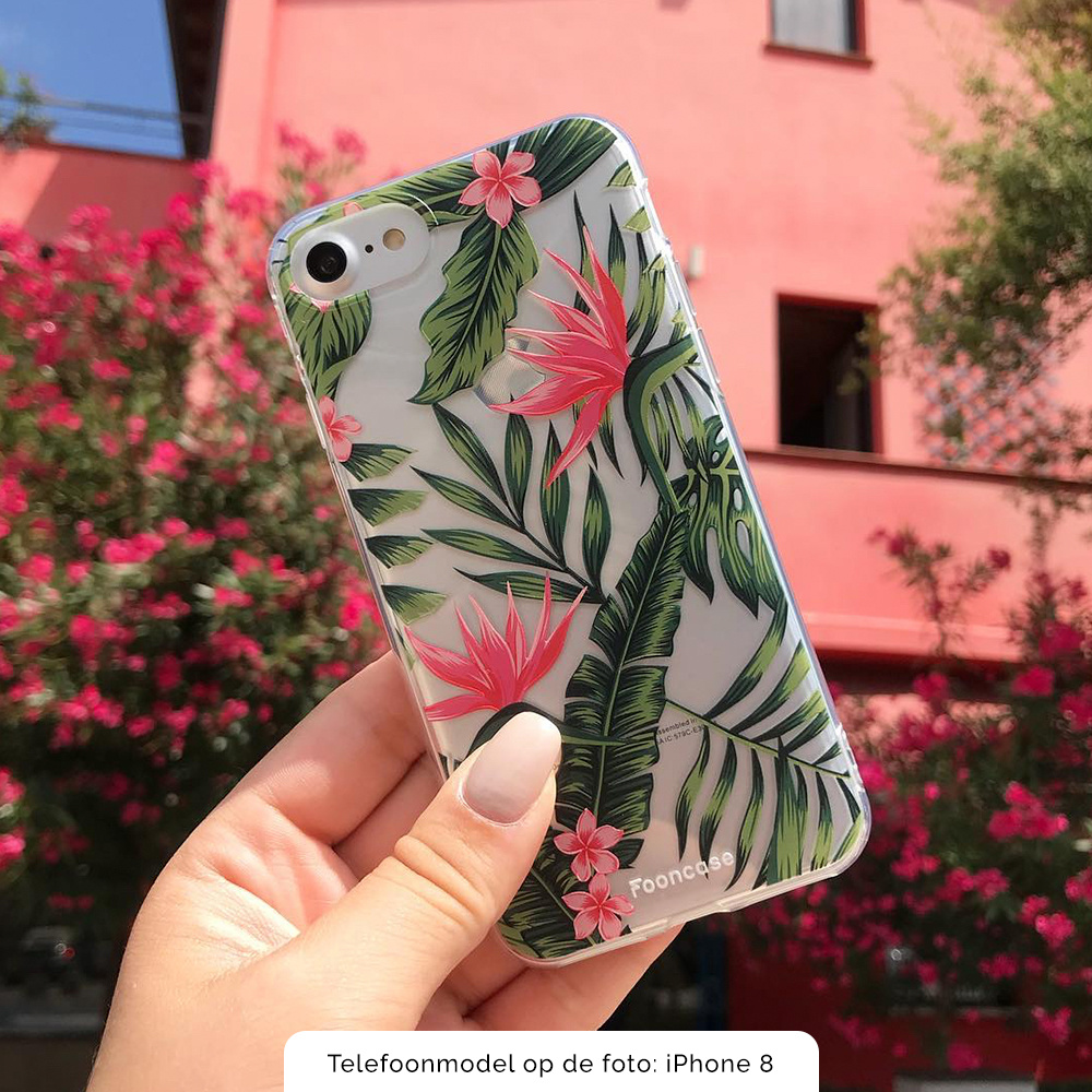 FOONCASE iPhone 7 Plus hoesje TPU Soft Case - Back Cover - Tropical Desire / Bladeren / Roze
