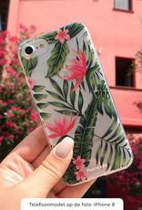 FOONCASE Samsung Galaxy S6 Edge hoesje TPU Soft Case - Back Cover - Tropical Desire / Bladeren / Roze