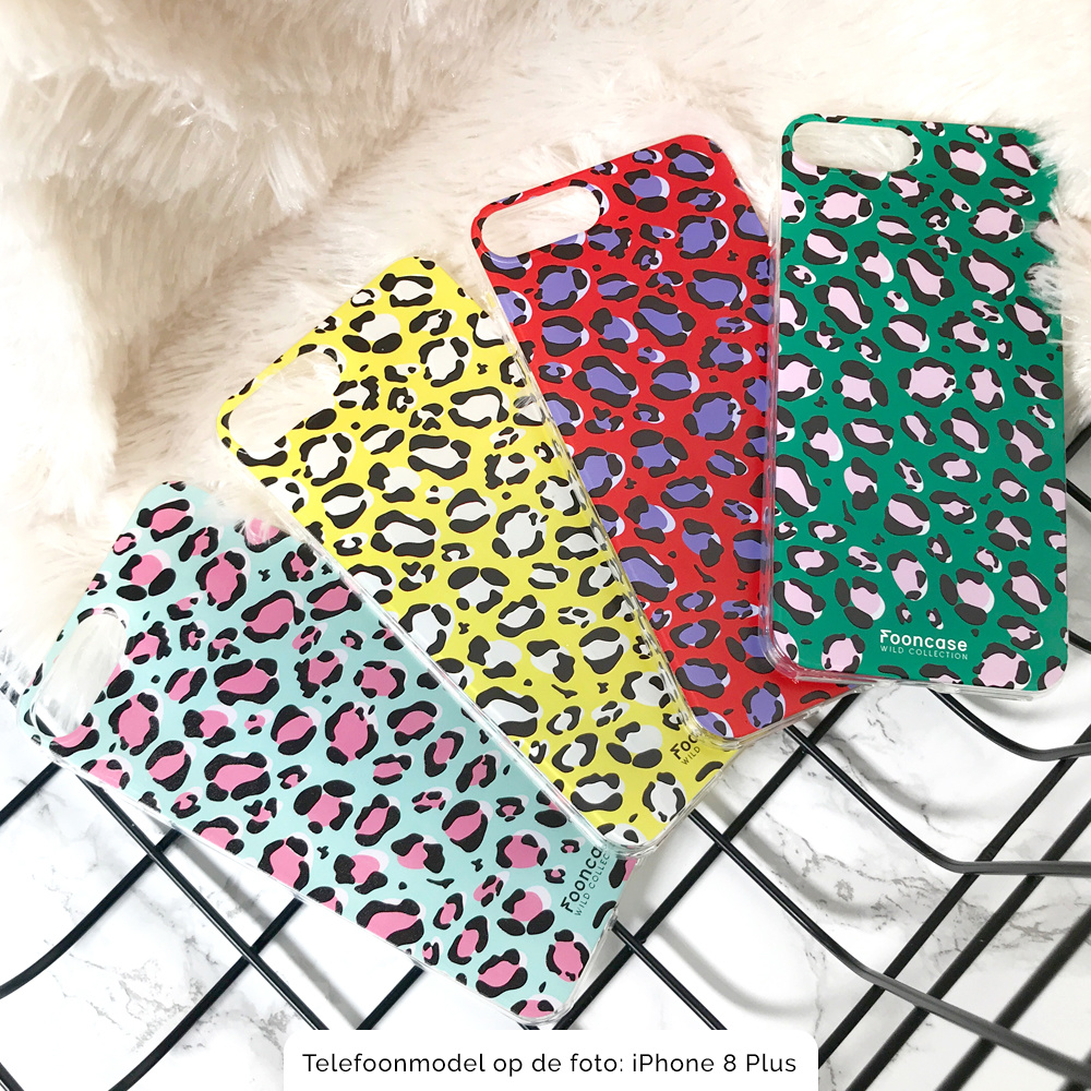 FOONCASE iPhone 8 hoesje TPU Soft Case - Back Cover - WILD COLLECTION / Luipaard / Leopard print / Blauw