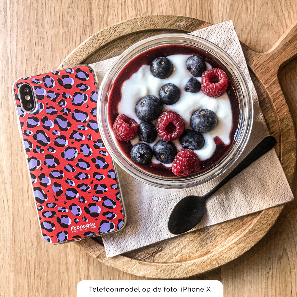 FOONCASE iPhone 8 Plus hoesje TPU Soft Case - Back Cover - WILD COLLECTION / Luipaard / Leopard print / Rood