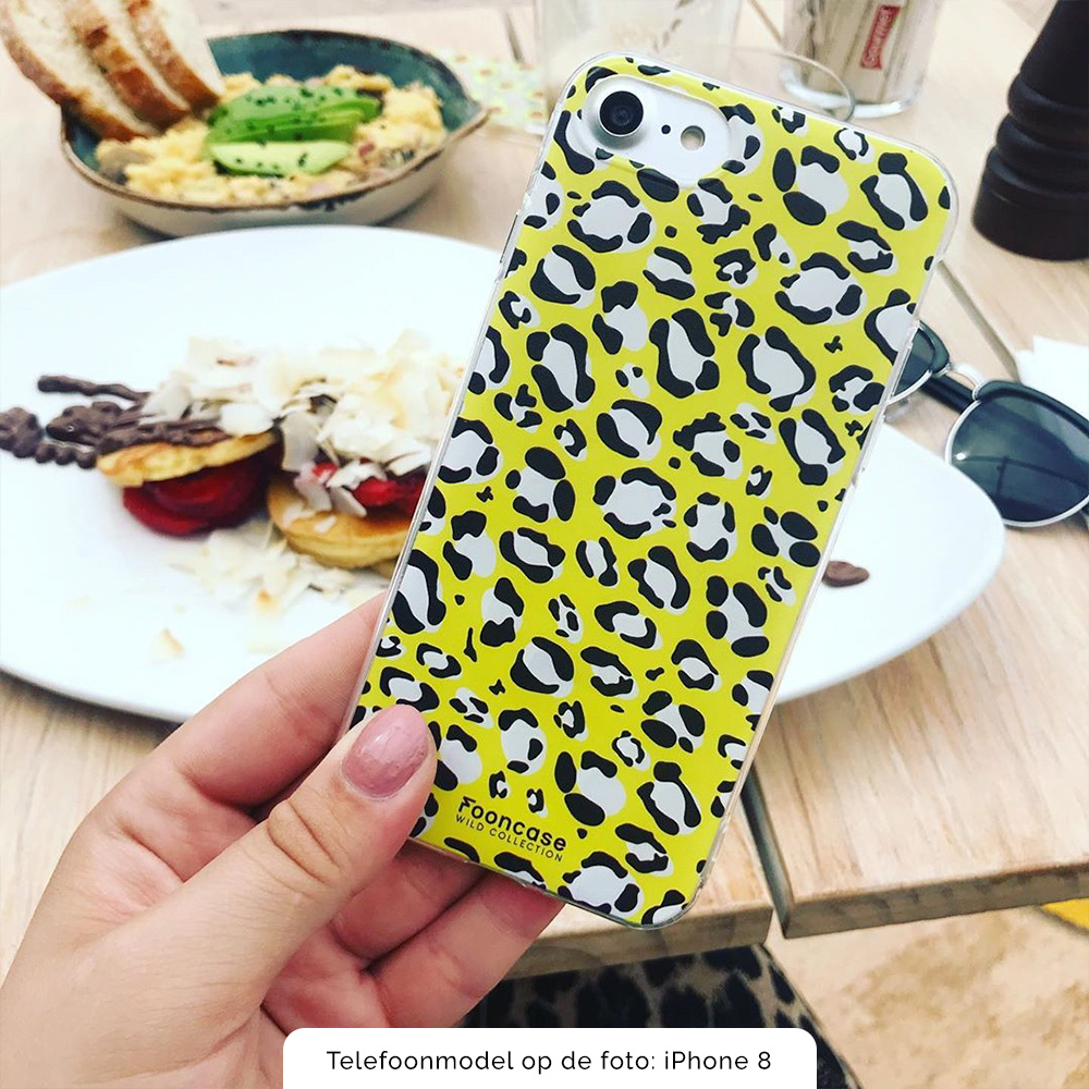 FOONCASE iPhone 8 Plus hoesje TPU Soft Case - Back Cover - WILD COLLECTION / Luipaard / Leopard print / Geel