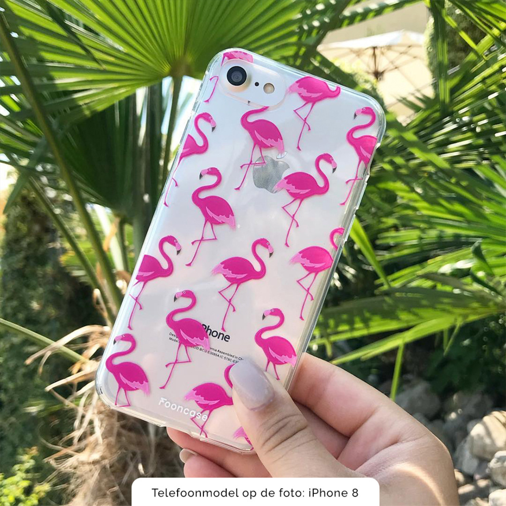FOONCASE Samsung Galaxy A8 2018 hoesje TPU Soft Case - Back Cover -  Flamingo