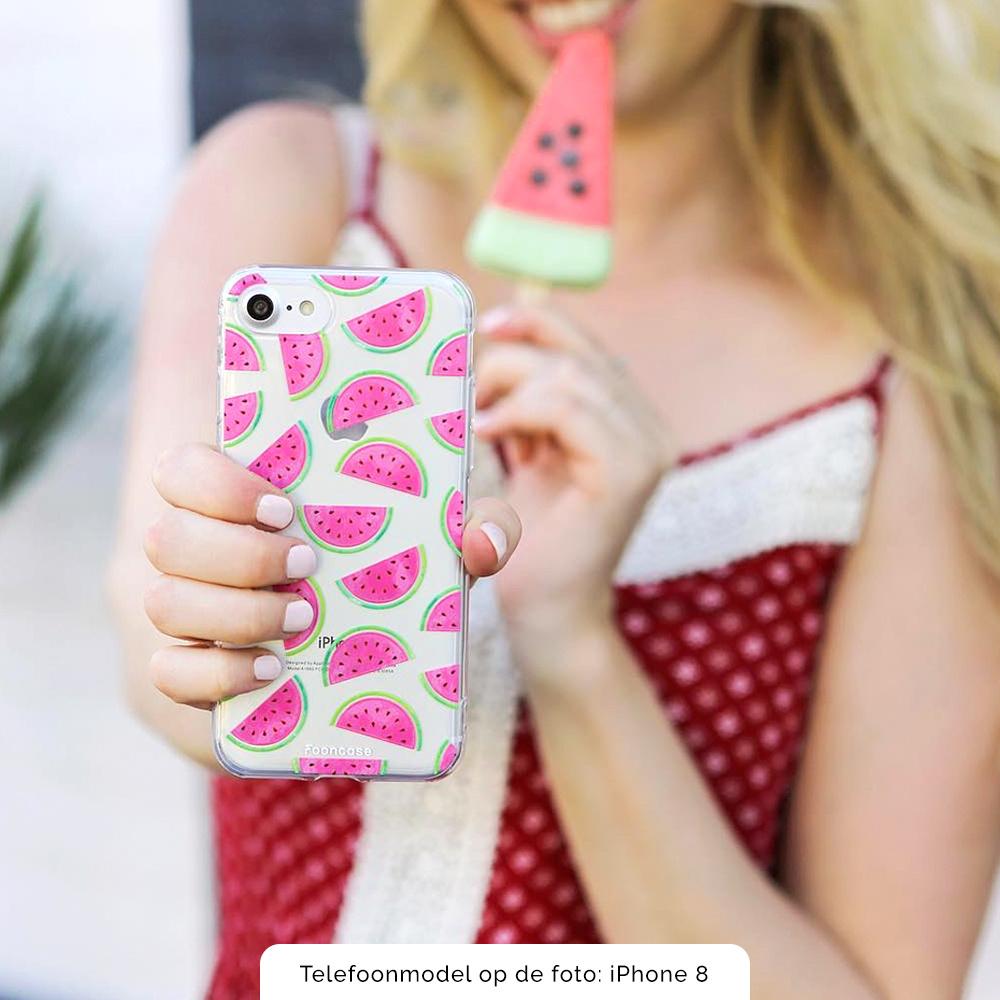FOONCASE Samsung Galaxy A8 2018 hoesje TPU Soft Case - Back Cover -  Watermeloen
