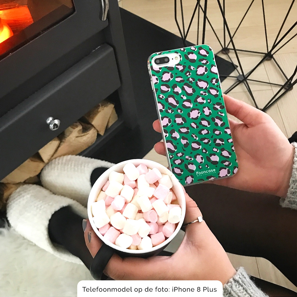 FOONCASE Samsung Galaxy A8 2018 hoesje TPU Soft Case - Back Cover - WILD COLLECTION / Luipaard / Leopard print / Groen
